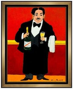 Guy Buffet Original Acrylic Painting On Canvas Signed Restaurant Waiter Portrait