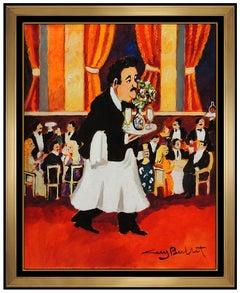 Guy Buffet Original Acrylic Painting On Canvas Signed Waiter Portrait Male Art