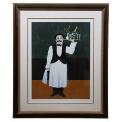 Guy Buffet Room Service Pencil Signed Serigraph French Waiter Champagne