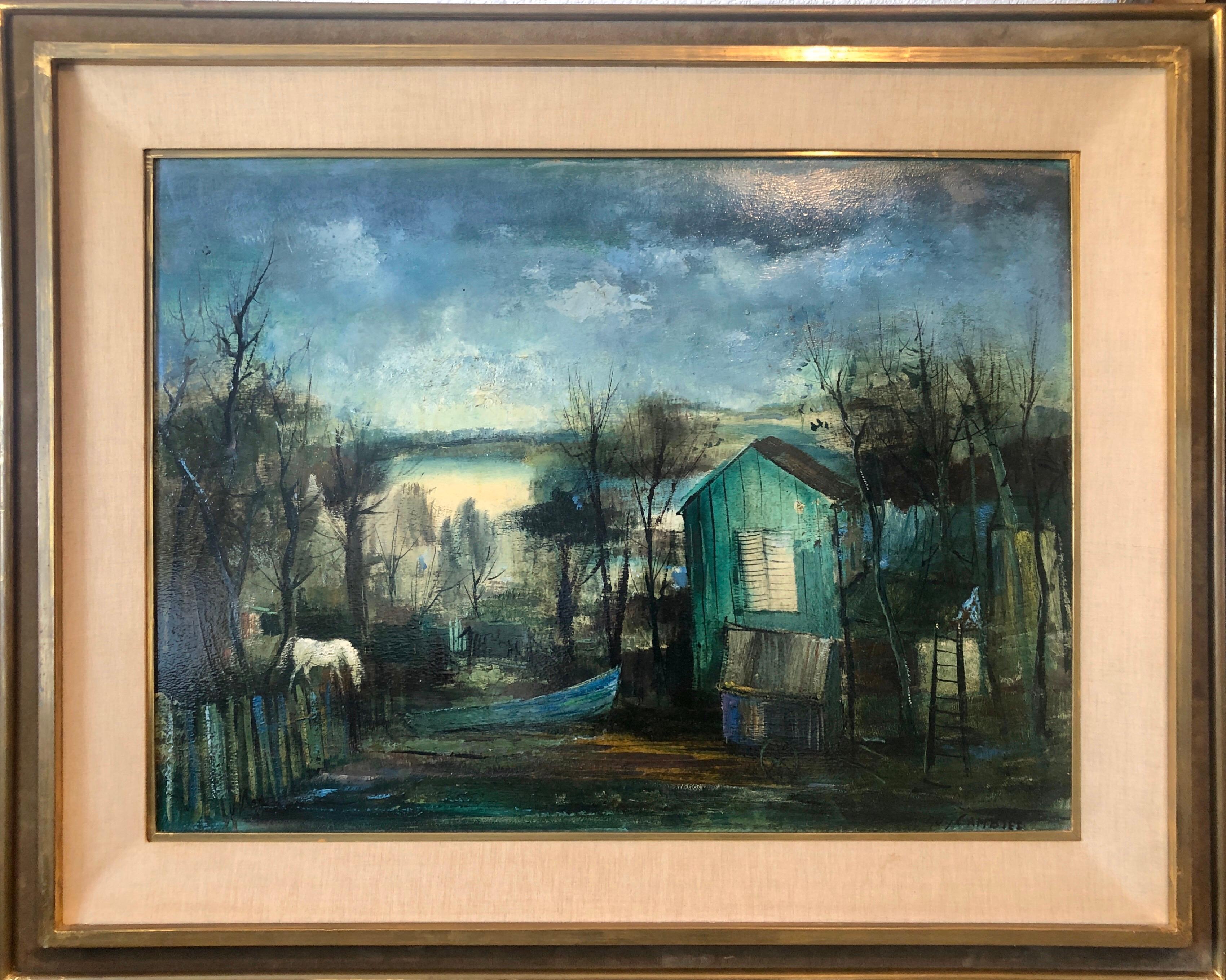 Fishing Shack, School of Paris Barbizon Oil Painting Night Time Landscape, Horse