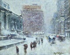 City Storm - New York City Library - Cityscape in Snow Oil by Guy Wiggins
