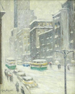 Midtown Storm-New York City - 19th Century Oil, Cityscape in Snow by Guy Wiggins
