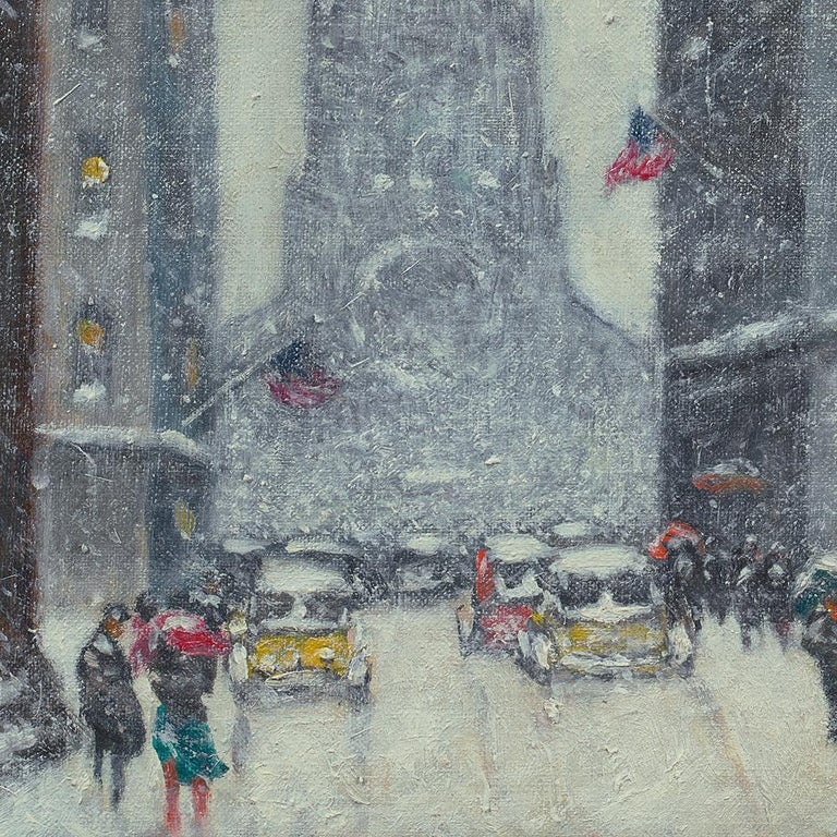 Wall Street Winter - Painting by Guy Carleton Wiggins