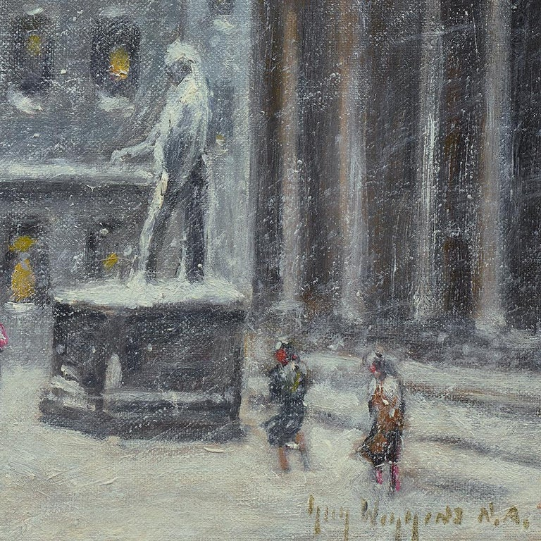 Wall Street Winter - Gray Landscape Painting by Guy Carleton Wiggins