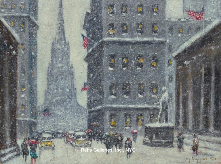 Guy Carleton Wiggins Landscape Painting - Wall Street Winter