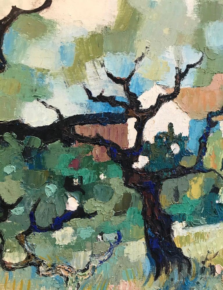 Paysage d'automne - Autumn landscape - Gray Landscape Painting by Guy Charon