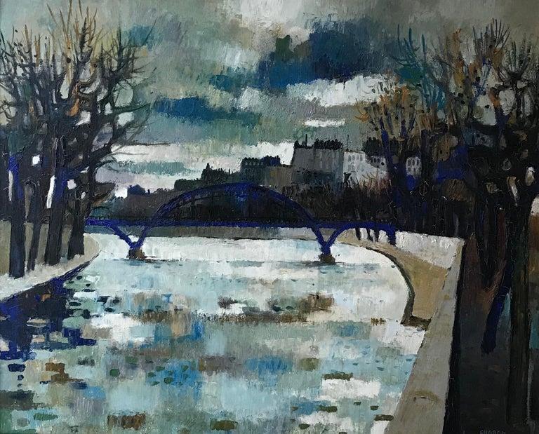 Guy Charon Landscape Painting - Pont de la Seine, Paris - Seine River Bridge, Paris