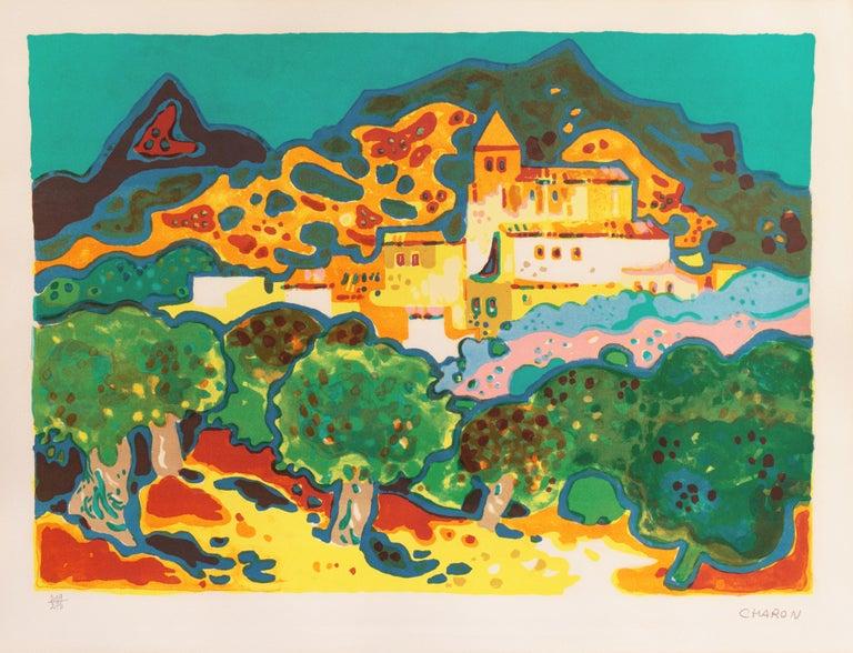 'Landscape with Village', Paris, Salon d'Automne, Musée d'Art Moderne - Print by Guy Charon