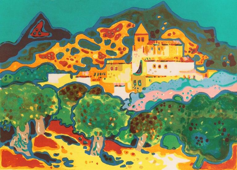Guy Charon Landscape Print - 'Landscape with Village', Paris, Salon d'Automne, Musée d'Art Moderne