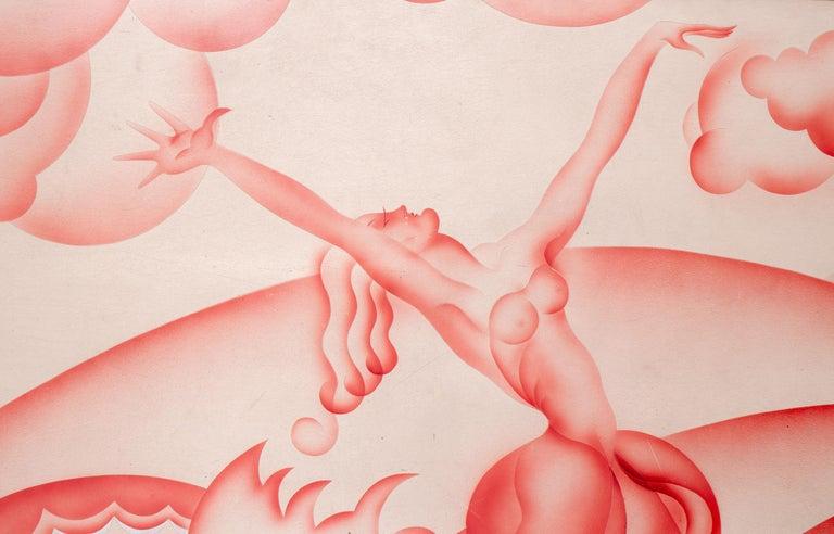 French Guy de Brocas 1990s Art-Deco Painting For Sale