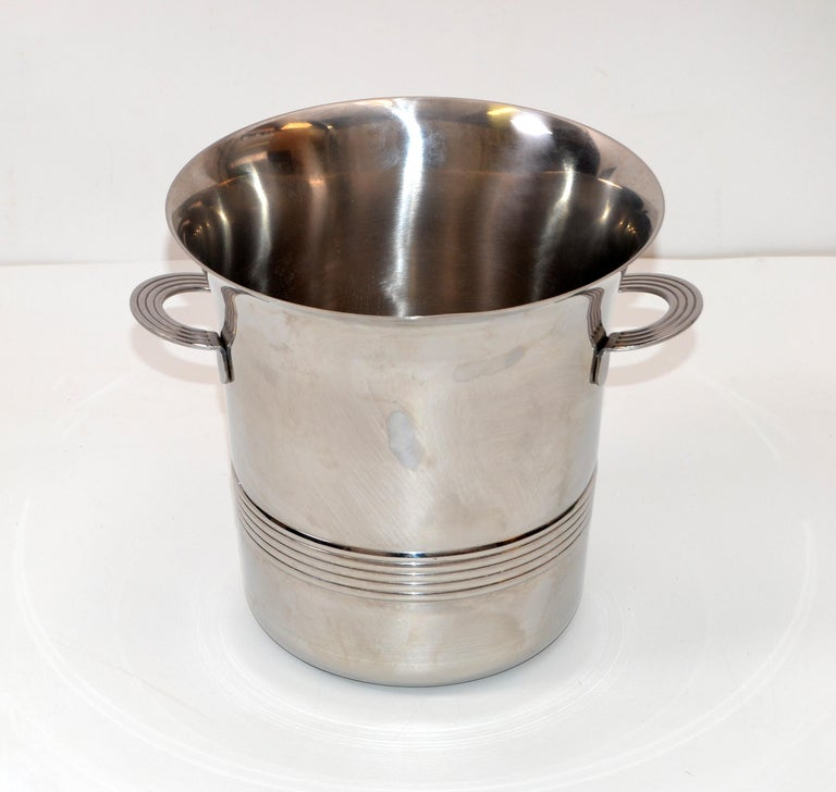 Guy Degrenne Inox Stainless Steel Modern Champagne Wine Cooler Bucket, France For Sale 6