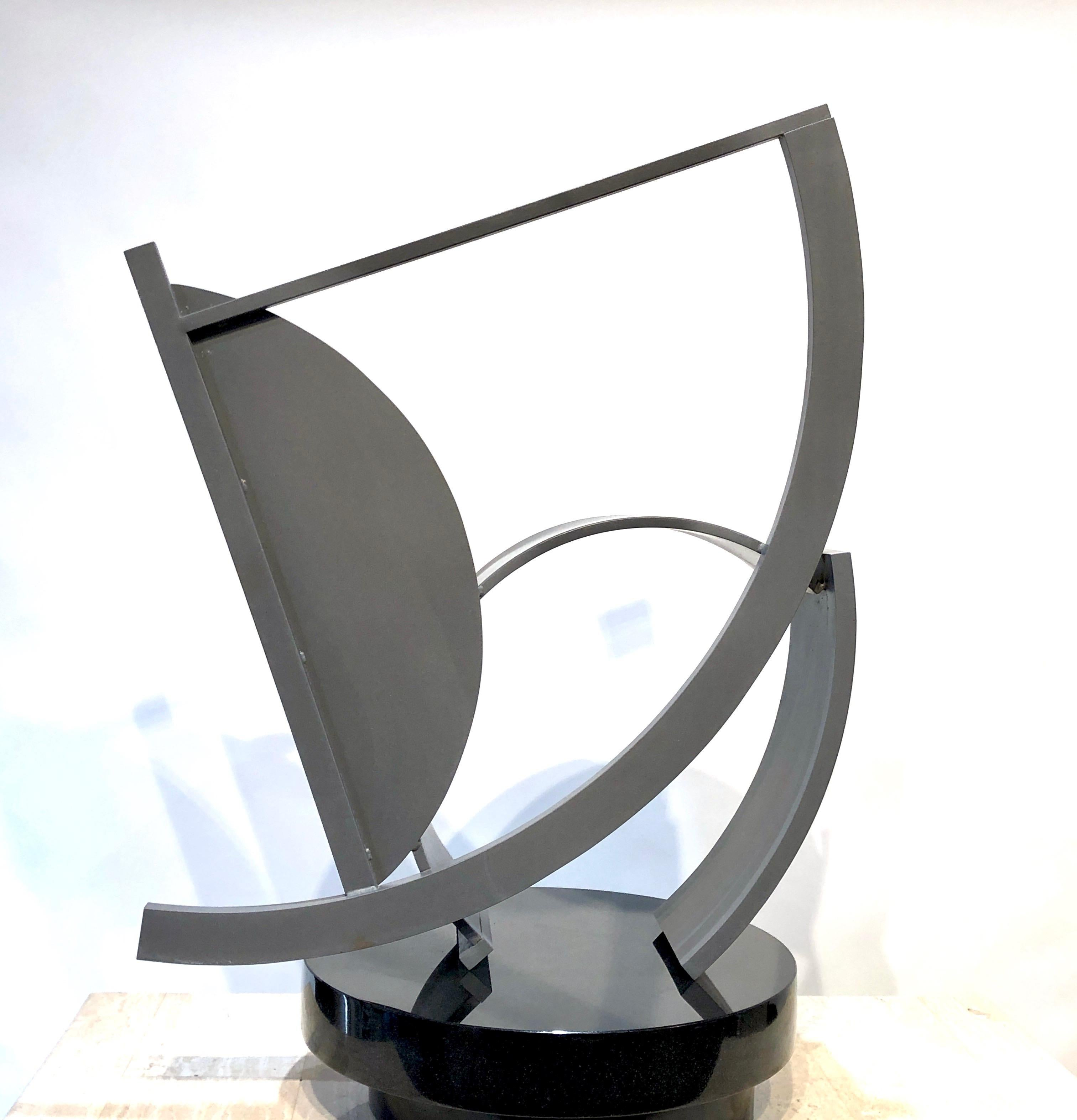 B-1 Feathers, abstract steel sculpture, unique, silver patina, table top, medium