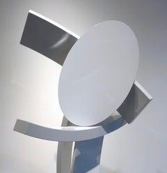 Ballast, abstract sculpture, white, vertical, contemporary, outdoor, indoor