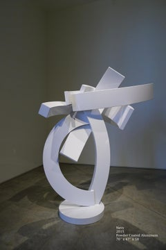 Navy, large abstract metal sculpture, white powder coated aluminum, vertical