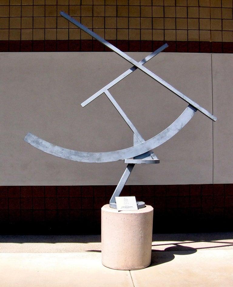 Guy Dill Abstract Sculpture - Scram, large abstract sculpture, outdoor, indoor, grey patina, steel, unique