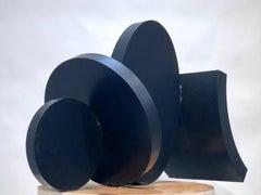 Small Dorado, abstract steel sculpture, black finish, small, geometric shapes