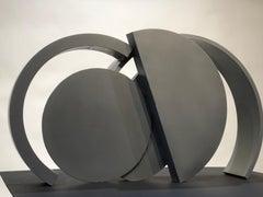 Small Frieze, abstract steel sculpture, grey patina, small, horizontal,geometric