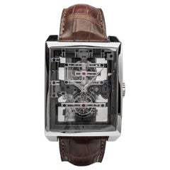 "Guy Elia 18 Karat White Gold ""Magistere Tourbillon"" Skeleton Strap Watch"