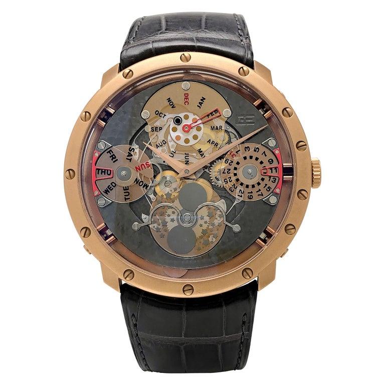 Guy Ellia 18 Karat Gold Time Space Quantieme Perpetual Calendar Watch, #2/200 For Sale