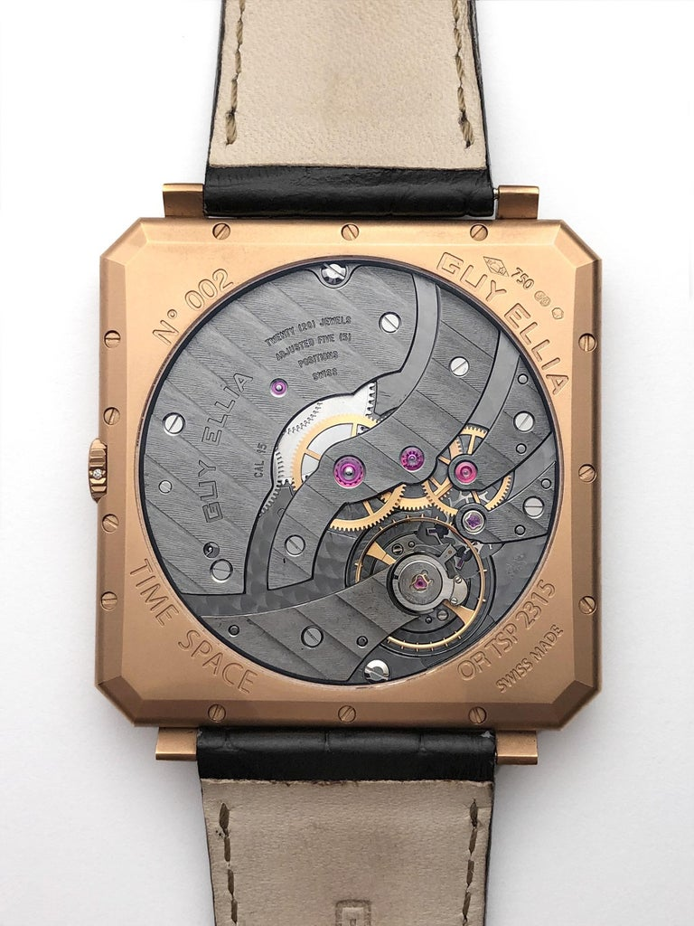 Modern Guy Ellia 18 Karat Rose Gold Time Space Square Strap Watch For Sale
