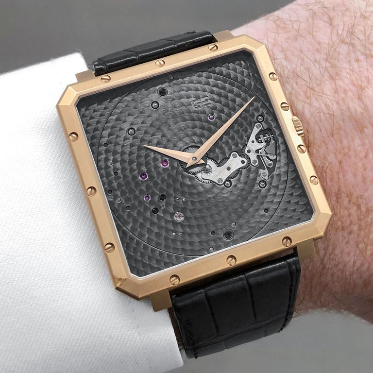 Guy Ellia 18 Karat Rose Gold Time Space Square Strap Watch In New Condition For Sale In New York, NY