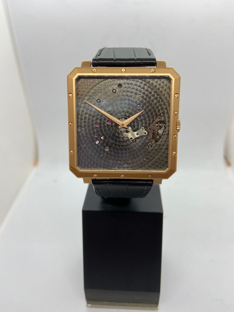 Women's or Men's Guy Ellia 18 Karat Rose Gold Time Space Square Strap Watch For Sale