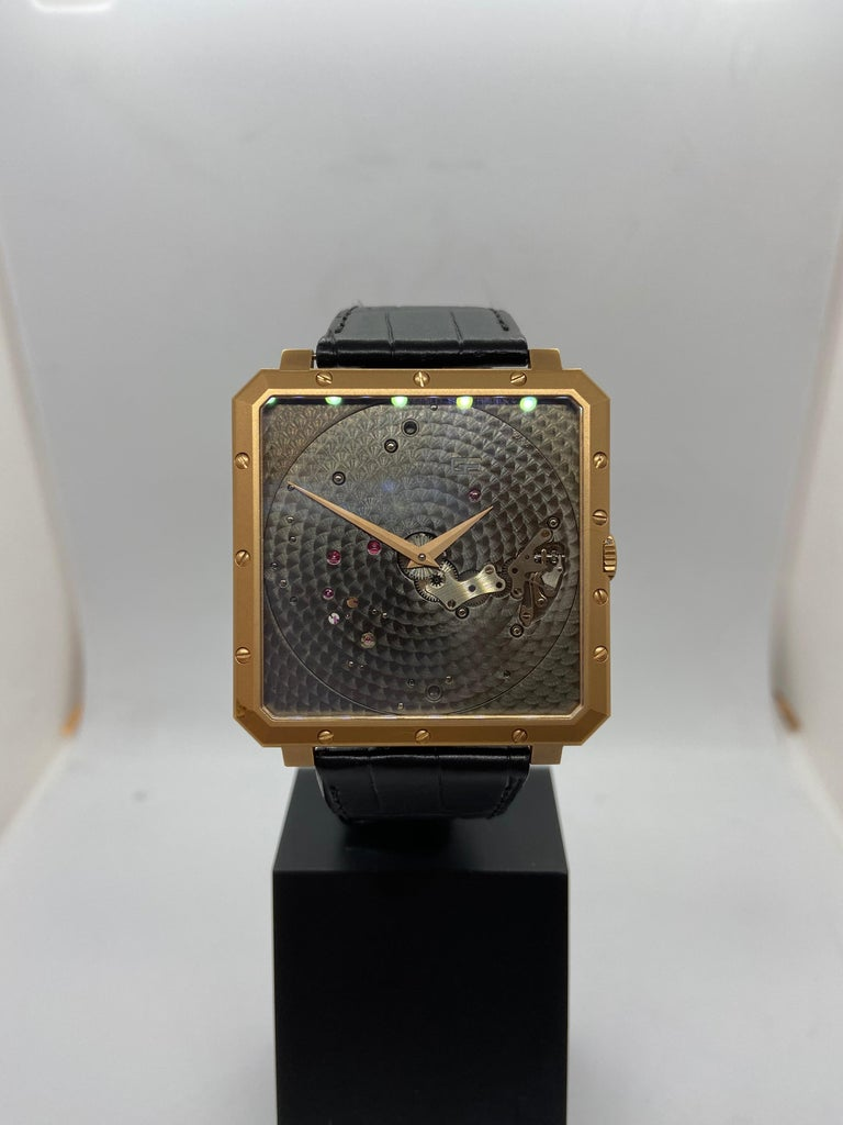 Guy Ellia 18 Karat Rose Gold Time Space Square Strap Watch For Sale 1