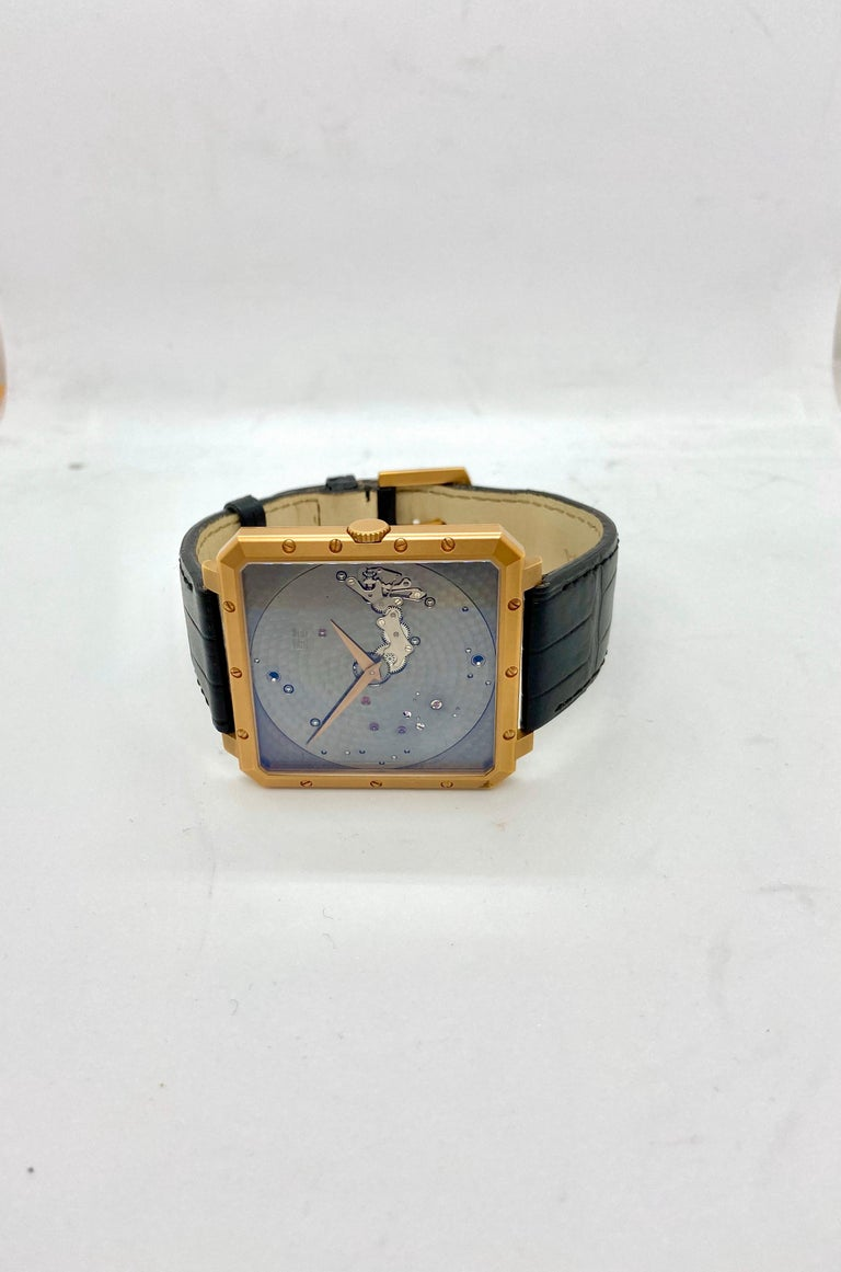 Guy Ellia 18 Karat Rose Gold Time Space Square Strap Watch For Sale 2