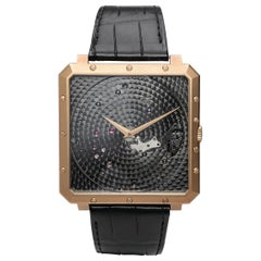 Guy Ellia 18 Karat Rose Gold Time Space Square Strap Watch