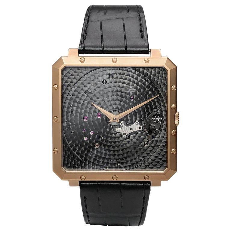 Guy Ellia 18 Karat Rose Gold Time Space Square Strap Watch For Sale