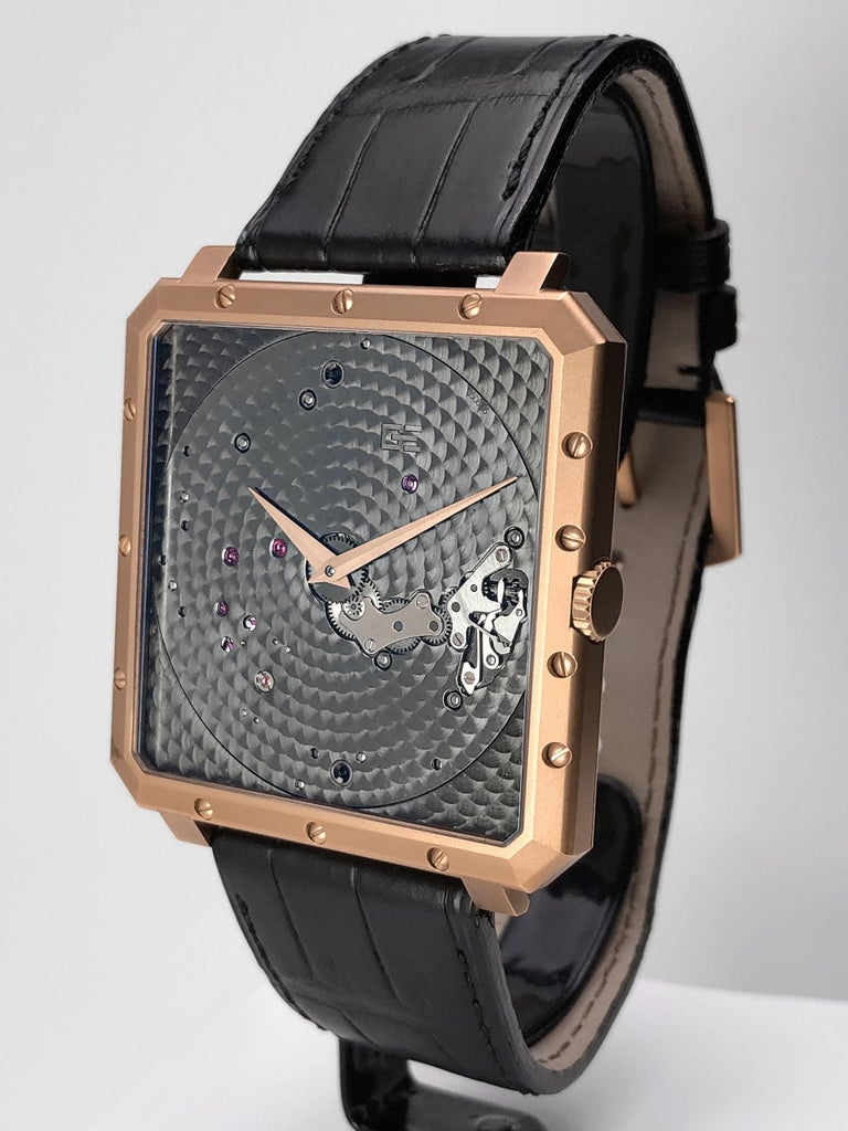 18 Karat Rose Gold Time Space Square Reference #OR-TSP-2315 Made in Switzerland Manual Wind Case #002 Anthracite engine turned main plate with rose gold hands 43mm square Black Crocodile Strap with 18 KT Rose Gold Tang Buckle Box and Warranty