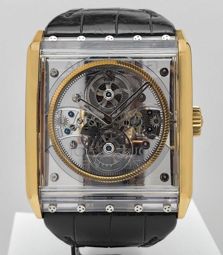 Modern Guy Ellia 18 Karat Rose Gold Tourbillon Zephyr Skeleton Watch For Sale