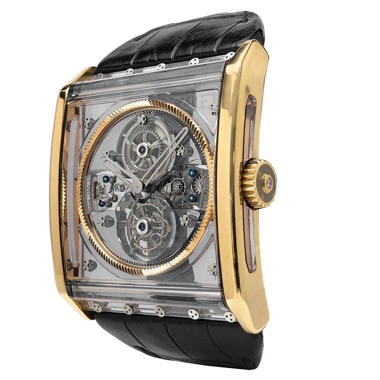 Guy Ellia 18 Karat Rose Gold Tourbillon Zephyr Skeleton Watch For Sale