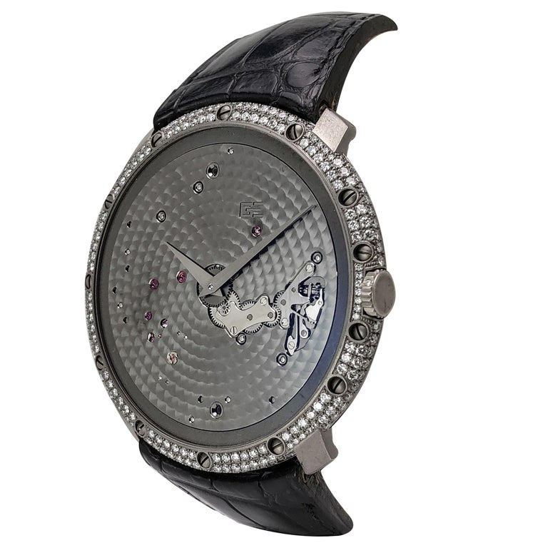 Guy Ellia 18 Karat White Gold and Diamonds Time Space Strap Watch For Sale