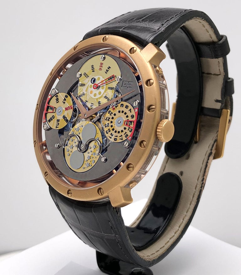 Guy Ellia 18 Karat Gold Time Space Quantieme Perpetual Calendar Watch, #2/200 In New Condition For Sale In New York, NY
