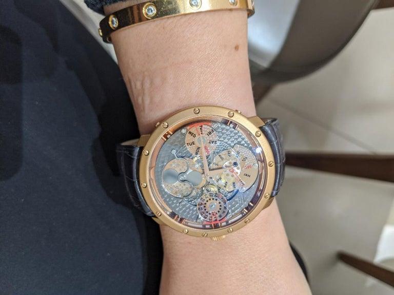 Women's or Men's Guy Ellia 18 Karat Gold Time Space Quantieme Perpetual Calendar Watch, #2/200 For Sale
