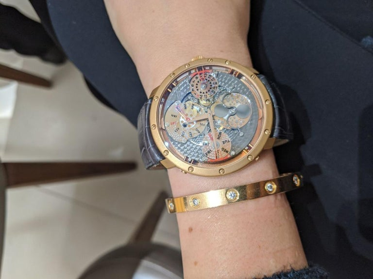 Guy Ellia 18 Karat Gold Time Space Quantieme Perpetual Calendar Watch, #2/200 For Sale 1