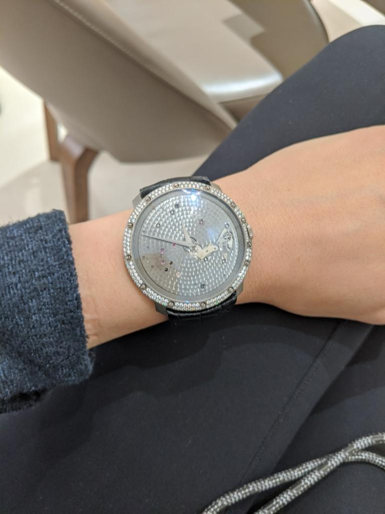 Modern Guy Ellia 18 Karat White Gold and Diamonds Time Space Strap Watch For Sale