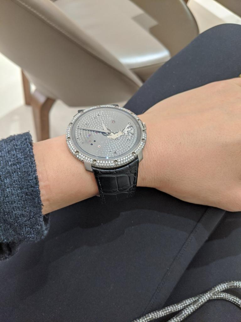 Round Cut Guy Ellia 18 Karat White Gold and Diamonds Time Space Strap Watch For Sale