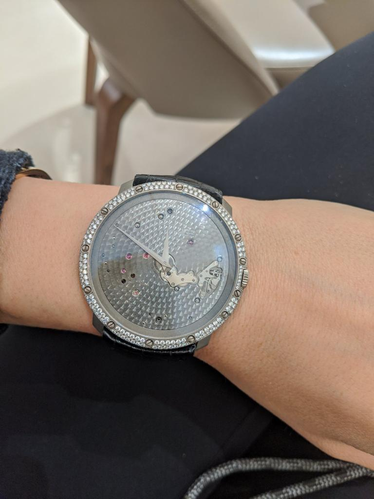 Guy Ellia 18 Karat White Gold and Diamonds Time Space Strap Watch For Sale 1