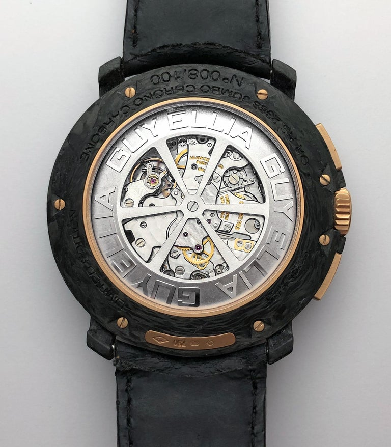 Jumbo Carbon and 18 KT Rose Gold Chronograph Reference  # RS2388JC #008/100 Automatic movement caliber PGE1185 F. Piguet 50mm diameter 11 mm thick Water resistant to 30mm Sapphire case back Black calf strap with brown stitching 18KT Rose Gold