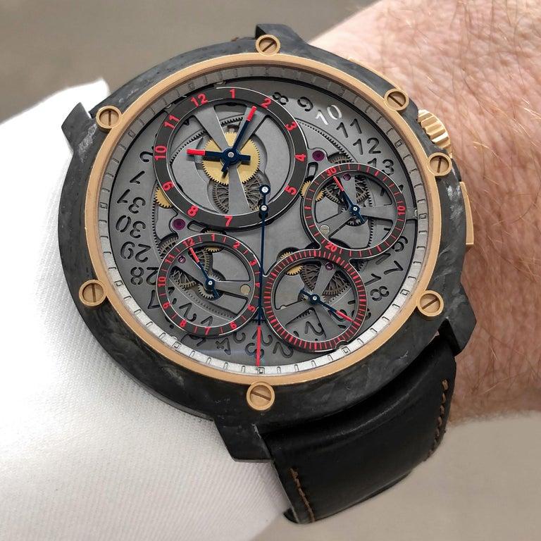 Modern Guy Ellia Carbon and 18 Karat Rose Gold Jumbo Chronograph Strap Watch For Sale