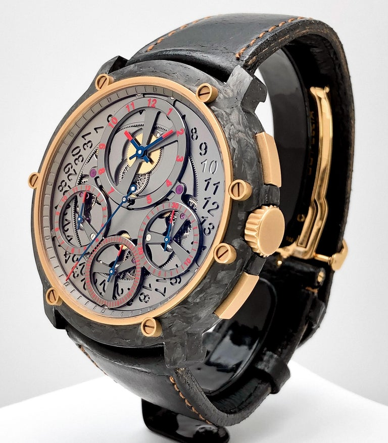 Guy Ellia Carbon and 18 Karat Rose Gold Jumbo Chronograph Strap Watch In New Condition For Sale In New York, NY