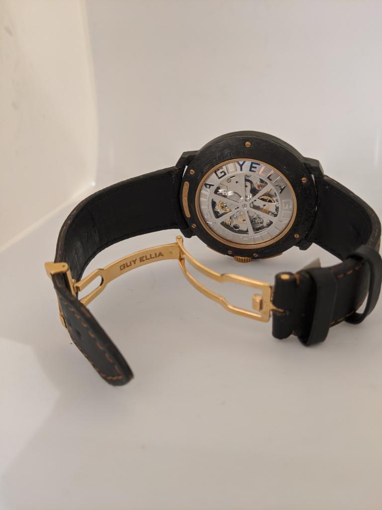Women's or Men's Guy Ellia Carbon and 18 Karat Rose Gold Jumbo Chronograph Strap Watch For Sale
