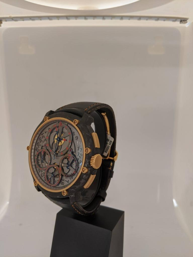 Guy Ellia Carbon and 18 Karat Rose Gold Jumbo Chronograph Strap Watch For Sale 2
