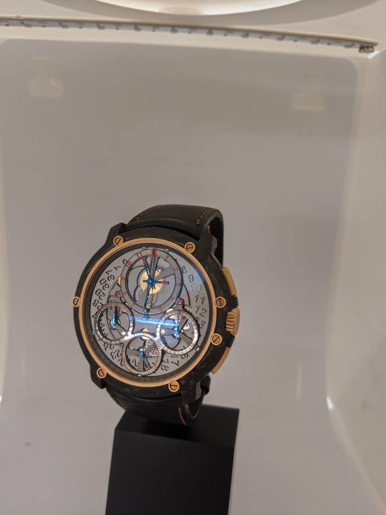 Guy Ellia Carbon and 18 Karat Rose Gold Jumbo Chronograph Strap Watch For Sale 3