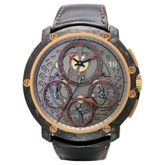 Guy Ellia Carbon and 18 Karat Rose Gold Jumbo Chronograph Strap Watch