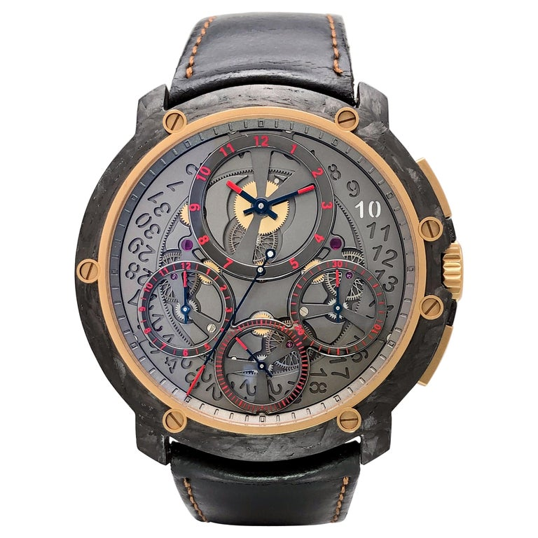Guy Ellia Carbon and 18 Karat Rose Gold Jumbo Chronograph Strap Watch For Sale