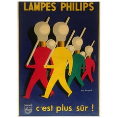 Guy Georget Original Philips Lamps Product Publicity Poster, circa 1950