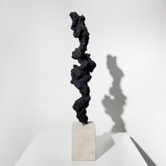 Black Totem no. 3 - Contemporary, painted bronze and Portland stone